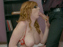 Boss inserts big fuck pole in both of big-boobied secretary's holes