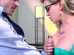 This huge cock is about to penetrate pretty secretary's love hole