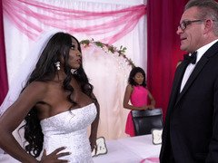 Dude and black bride with sizeable boobs can't abide wedding night