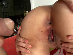 Latina with love bubbles that have large nipples on them is pounded