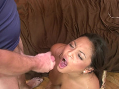 A Latina is having interracial sex with an more experienced white man