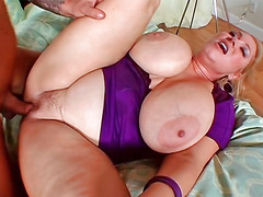 Big-breasted hottie Samantha 38G sucks a dick and furthermore gets fucked rough