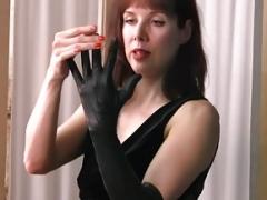 Posh british brunette Mom i`d like to fuck teases in nylons leather gloves