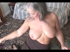Gorgeous bigtitted granny striptease