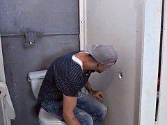 Bathroom Glory Hole Legal teen Sucks off Big Cock