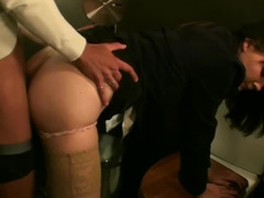 A raven haired slut is getting a dick in her butt and also in her mouth