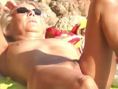 Granny nudist suntanning vagina exhib outdoor