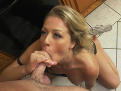 Bored blonde dame is happy to have fun with less seasoned partner