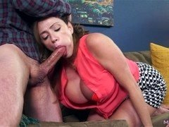 Big jug Soccer mom gives blowjob off shady landlord to cover rent