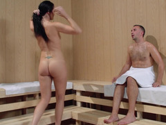 A huge ass woman is in the sauna and moreover she is getting fucked hard