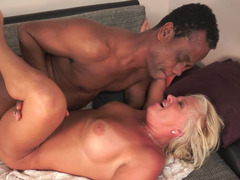 Nasty blonde grandma needs some nasty interracial backdoor getting down and dirty