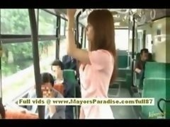 Rio oriental legal teen kitten getting her shaggy muff fondled on the bus