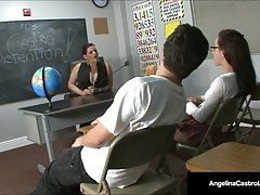 Ms. Angelina Castro Makes Student Roxanne Rae Do a Foot Job!