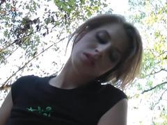 Unprofessional prostitute caresses phallus in the park
