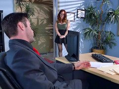 Ginger with sexy glasses loves to have crazy sex with boss