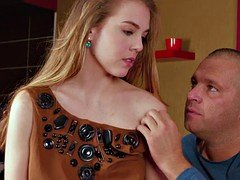 Virgin Alesya being seduced by a porno actor
