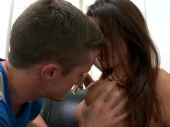 Adorable brunette newbie with good boobs gets her twat tested