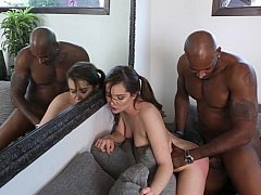 Aroused daughter fucks a huge black cock