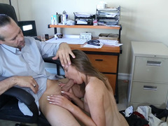 A brunette that has a sexy smile is getting pounded anally