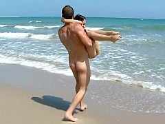 Young-looking tourist get pounded on the beach