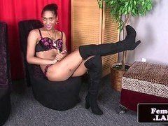 Ebony femboy jerking her cock in solo action