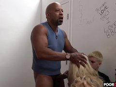 Cuckold viewing his Hotwife Holly Heart Taking A Huge Black Phallus