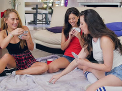 Strip poker with friends turns into a hot lesbian threesome
