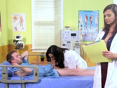 A sexy nurse is getting her muff on top of a patient