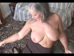 Cute bigtitted granny striptease