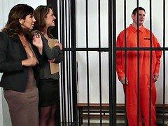 Brit femdom goddess CFNM police babe humiliate prisoner