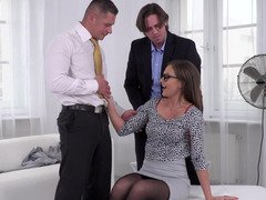 Radiant office broad ins stockings handles her customers' cocks