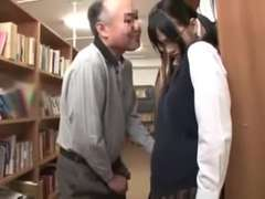 Nasty Old Dude and Japanese Schoolgirl In A Library