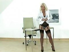 Hot Blonde Milf gives lad a handjob