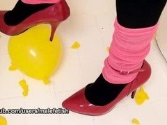Red Stiletto High Heels Popping Yellow Balloons by Male Fetish