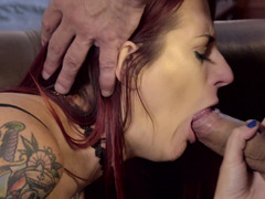 A girl with tattoos is having her pussy licked an fucked well