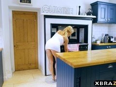 Aged mom seduces a immature dude and fucks him in the kitchen