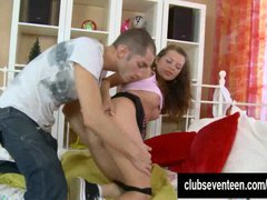Glamorous teen gets bum fucked and besides cummed