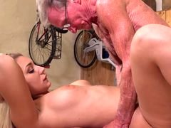 Blonde hot tooshie backdoor fucked by aroused grandpa