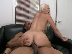 Blonde with puffy nipples opens her legs for fuck hole penetration