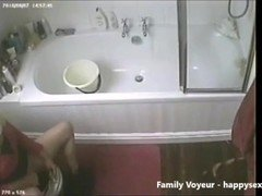 My mom rubbing her pink slit in toilet caught by hidden cam