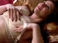 Old with melons and additionally shaggy love hole masturbates with dildo