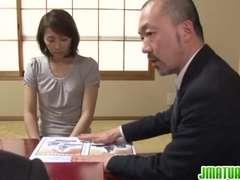 Hisae Has 2 Dudes To Deep-Throat And Nail