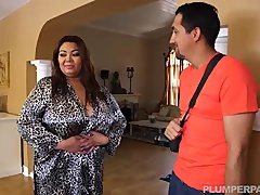 Boobalicious Fat Asian Adult model Gets Massage from Latin