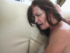 A brunette granny gets her loose cunt filled up really well