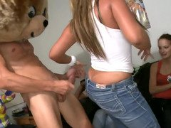 Party broads get into sucking whipped cream off hard stripper purple rod