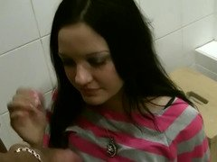 Prostitute from Russia gladly serves a duo guest in the toilet