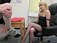 CFNM female domination giving footjob in stockings