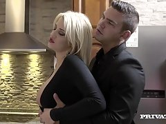 Aroused Housewife Sienna Day Fucks A pair of Men In the Kitchen
