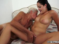 18-19 year old cutie's kinky picnic with a grandpa