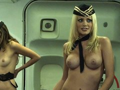 More than one hot ladies get naked in a plane and have a great time